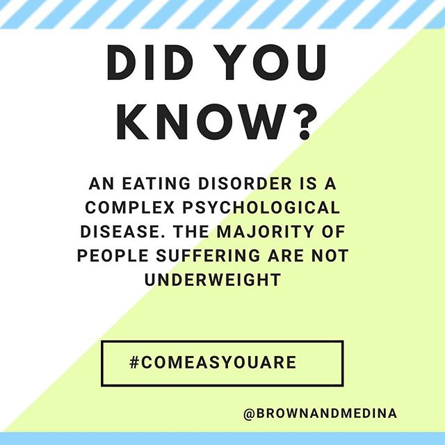 It's #nedawarenessweek ❤️ Did you know that eating disorders can affect all genders, socioeconomic statuses, races, ages and body shapes? Many sufferers are NOT underweight. It is a complex psychological disease, not a choice. If you or someone you know is struggling, check out our website (link in profile) for more resources and information. . . . #eatingdisorderrecovery #recovery #recoveryispossible #eatingdisorder#edrecovery#awareness #spreadawareness #mentalhealth#health#haes