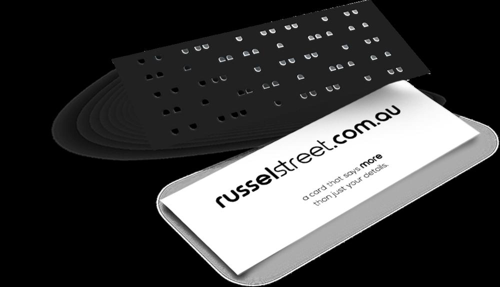 Silver Foil Business Cards - Slim — russel street