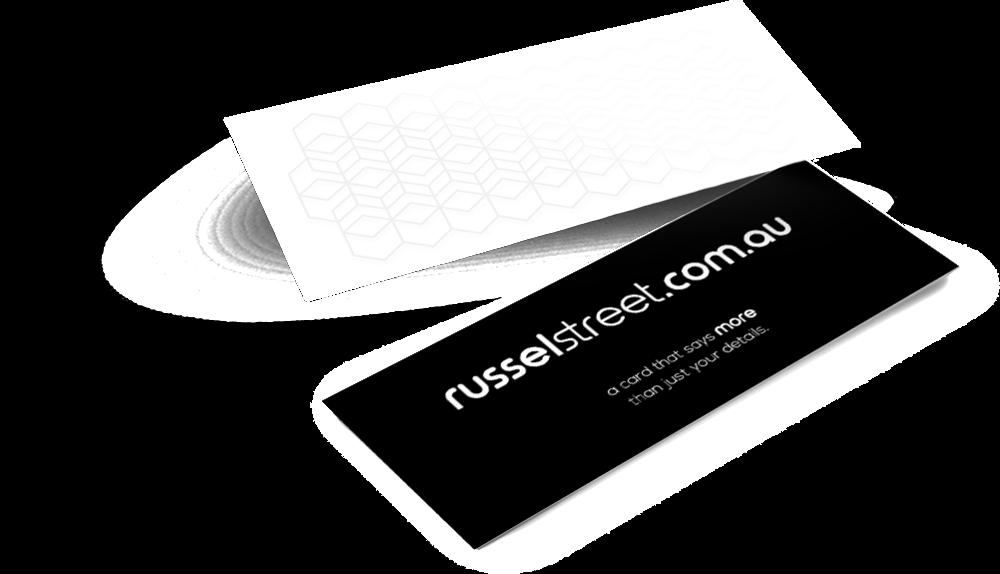 Raised Varnish Business Cards - Slim — russel street
