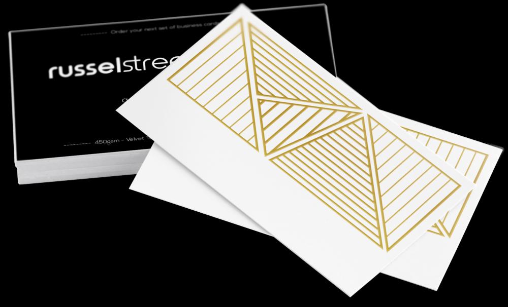 Gold Foil Business Cards - Standard — russel street