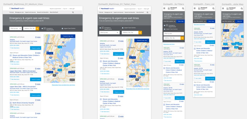 Medium, Tablet & Mobile layouts. Used with development team to show the responsive behavior of the map across screen sizes.