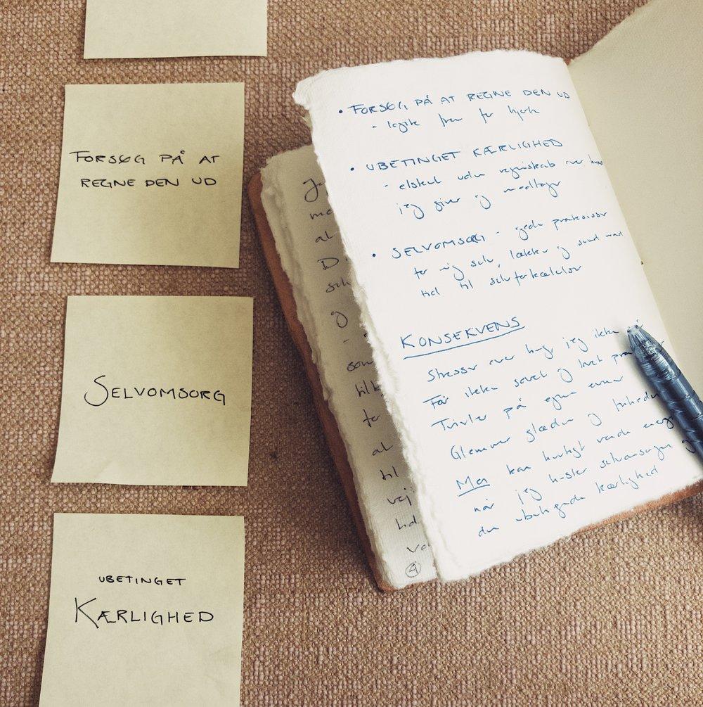 5. Beskriv konsekvensen - Mærk efter hvilke konsekvenser det har haft i din hverdag, at netop disse 8 værdier/væremåder har fyldt mest. Vær ærlig, du snyder kun dig selv.