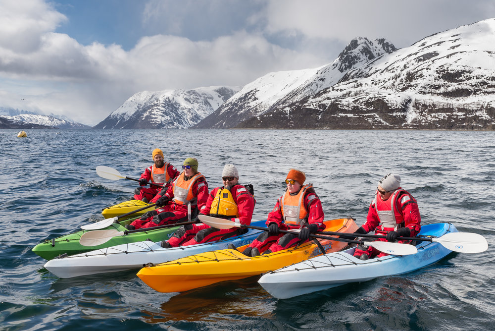EXPLORE THE WILDFJORDS AND THE GLACIER WITH KAYAK - Do you like to be out in the wilderness and want to go kayaking? On this tour you will explore the wild fjords of Finnmark and Troms and padle towards the majestic Øksfjord glacier.
