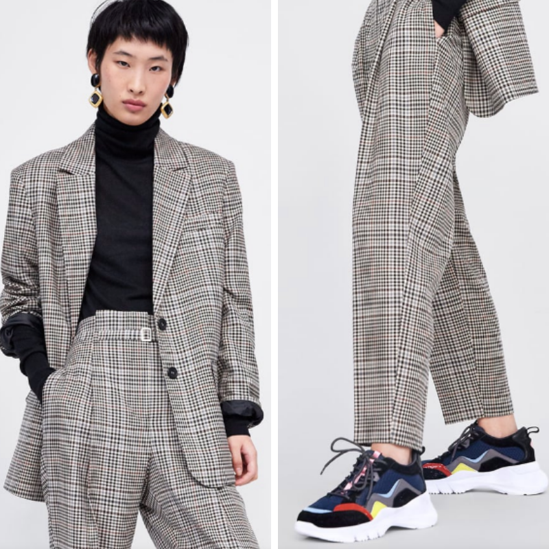 3 Zara - Checked Suit with Belt