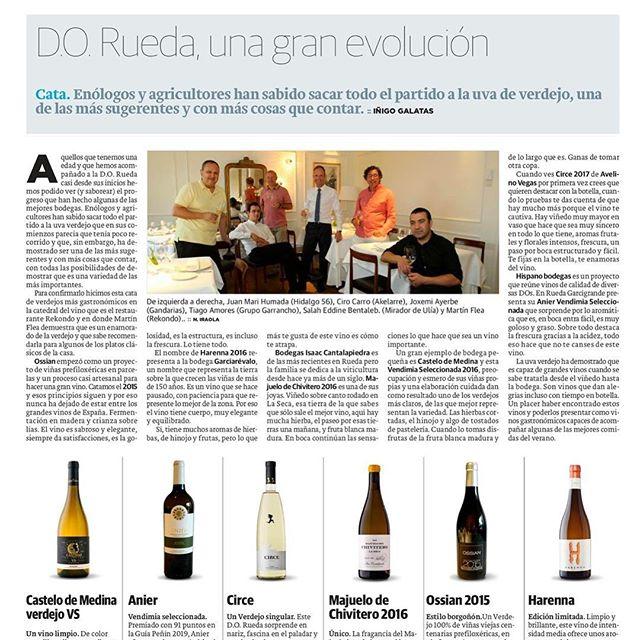 """Harenna en el Diario Vasco: """"D.O. Rueda, una gran evolución. Enólogos y agricultores han sabido sacar todo el partido a la uva de verdejo, una de las más sugerentes y con más cosas que contar."""" @diariovasco #diariovasco @dorueda #rutadelvinorueda #amorporlonuestro"""