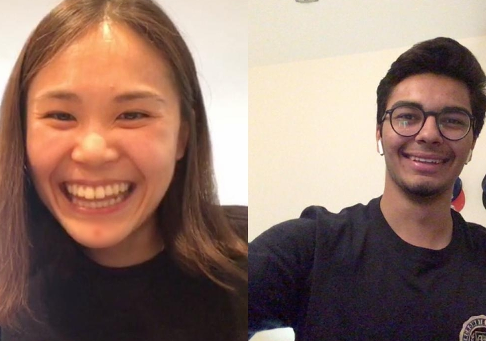 Jinseul Jun '13 shares her wisdom with her mentee Anas Badran '19 over Skype.