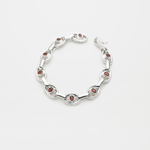 3c57de584 Sterling silver Roman Bracelet, set Mozambique garnets