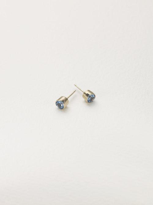 8866610cc 9ct gold stud earrings set Swiss blue topaz