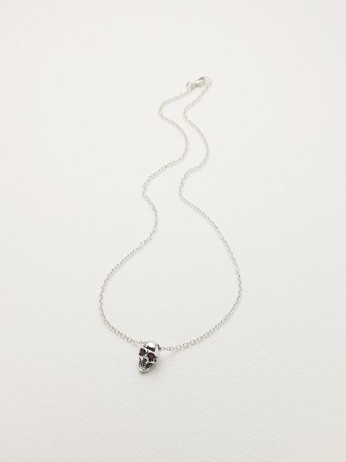 57482c365 Sterling silver skull pendant, set garnets