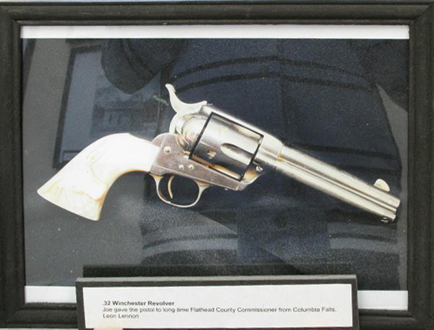 In addition to his often fancy garb and saddles, Joe was known to carry this pearl handled .32 Winchester Revolver, which he later gave to a longtime Flathead County Commissioner. Cosley Exhibit in Cardston, AB.