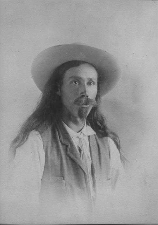 """Cosley was a """"picturesque figure. Wearing a colorful neckerchief and earrings, there was a certain glamor about the young mountain man with a haunting face, Not too much was known of him: """"Undated Portrait of Joseph CLarence Cosley, Great Falls Tribune photo and text."""