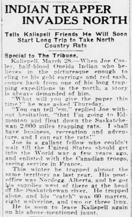 Cosley continued to update his devoted fan club on his latest adventures in search of muskrat pelts.. Great Falls Tribune, March 29, 1926