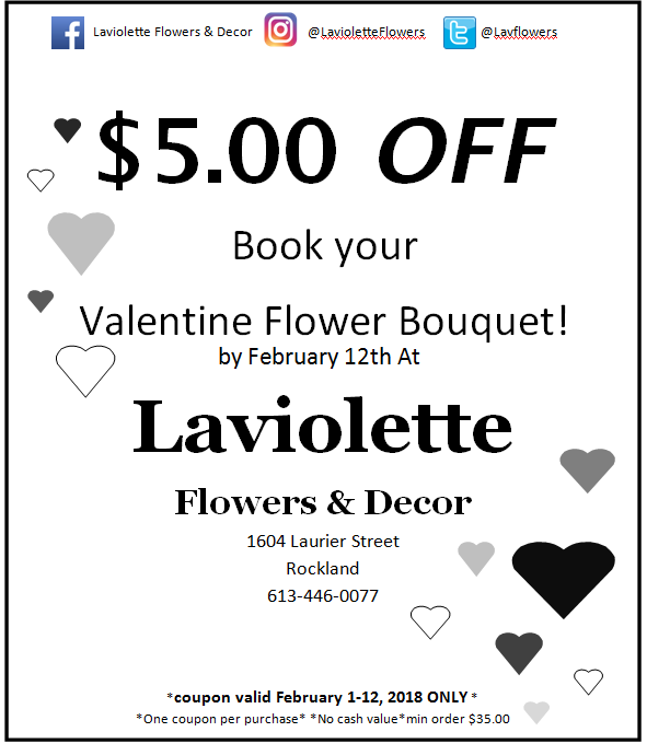 PRINT OFF THIS COUPON AND BRING IT INTO OUR STORE TO RECEIVE $5.00 OFF YOUR VALENTINE FLOWER BOUQUET!