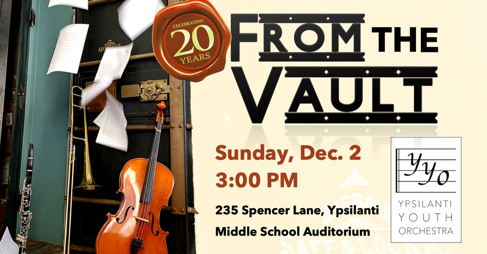 Our Next Concert! - Celebrate the beginning of the Ypsilanti Youth Orchestra's 20th year with musical classics from our past! The orchestra and our pre-orchestra classes will play holiday favorites, and we will welcome special guest opera star, Anita Johnson.