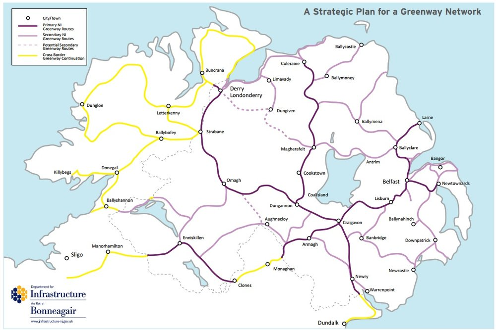 DfI listed over 1,000 miles of potential greenways across NI and RoI