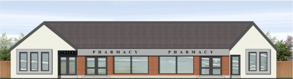 A visual of how a small GP surgery (enveloping the existing pharmacy) could work in Ballygowan