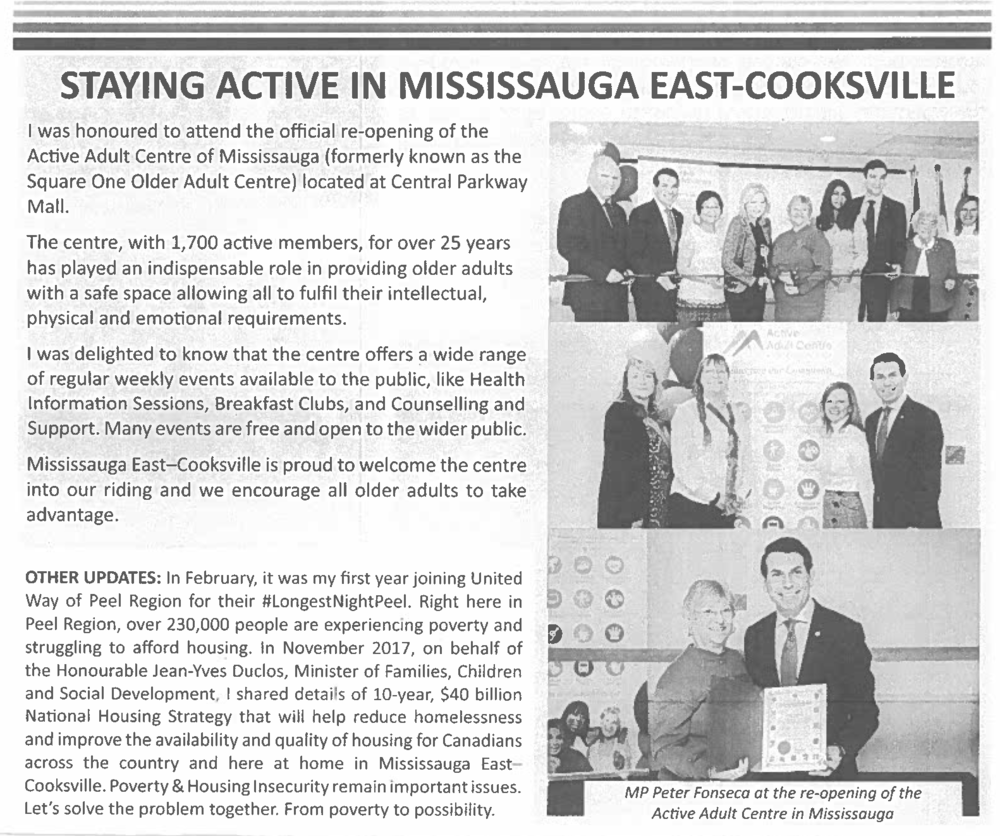 Peter Fonseca - Member of Parliament - Mississauga East-Cooksville | Spring 2018 Newsletter