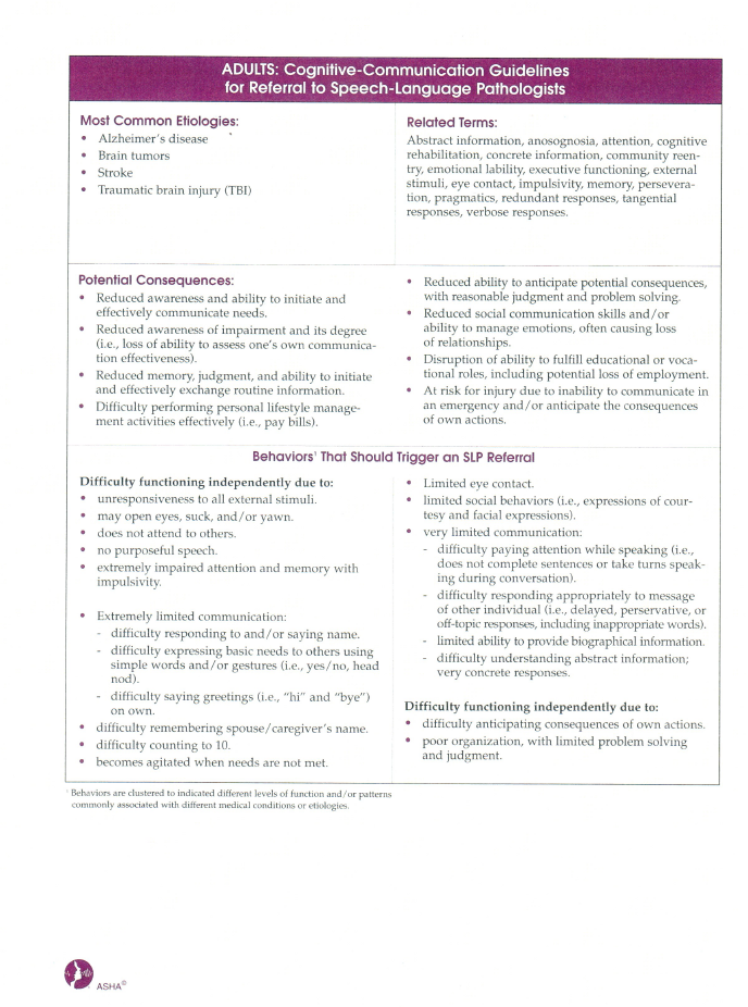Cognitive-Communication Guidelines