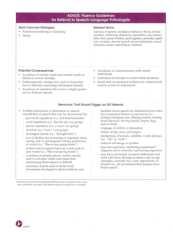 Fluency Guidelines
