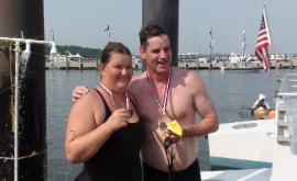 Jenny and Unified Partner Dave, 1st Special Olympics swimmers to cross the Potomac River, 2012