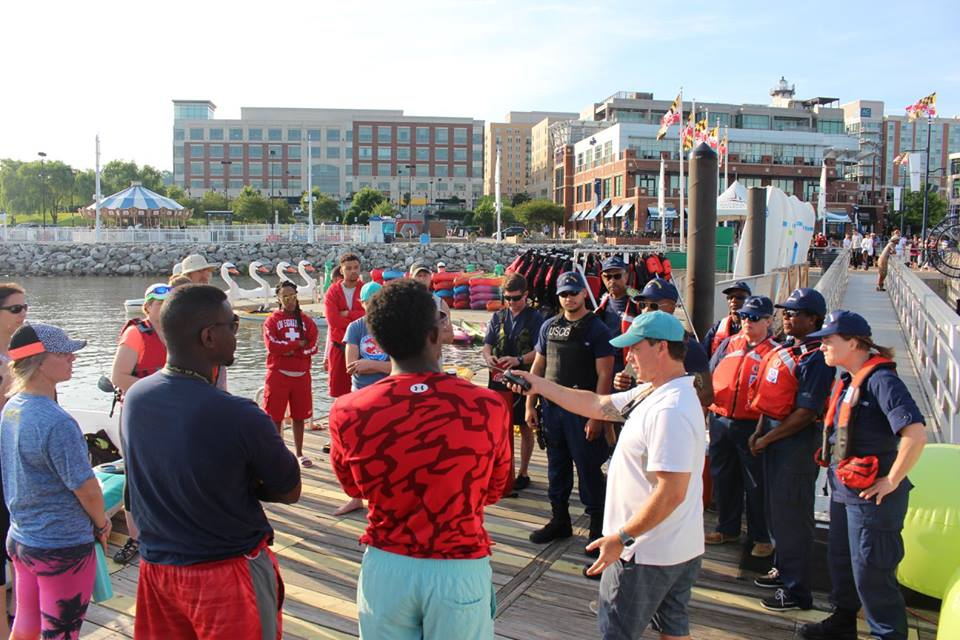 Water support pre-race briefing, 2017 Swim for the Potomac. Our Elite Support Team also supports the critical course points of the Nation's Triathlon, High Cloud PeasantMan Triathlon and others.