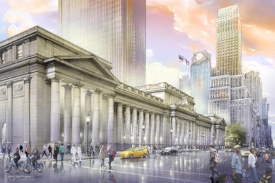 Rendering of a rebuilt Seventh Avenue facade. (Credit: Jeff Stikeman for Rebuild Penn Station.)