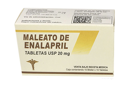 Maleato de enapril tabletas USP 20 mg
