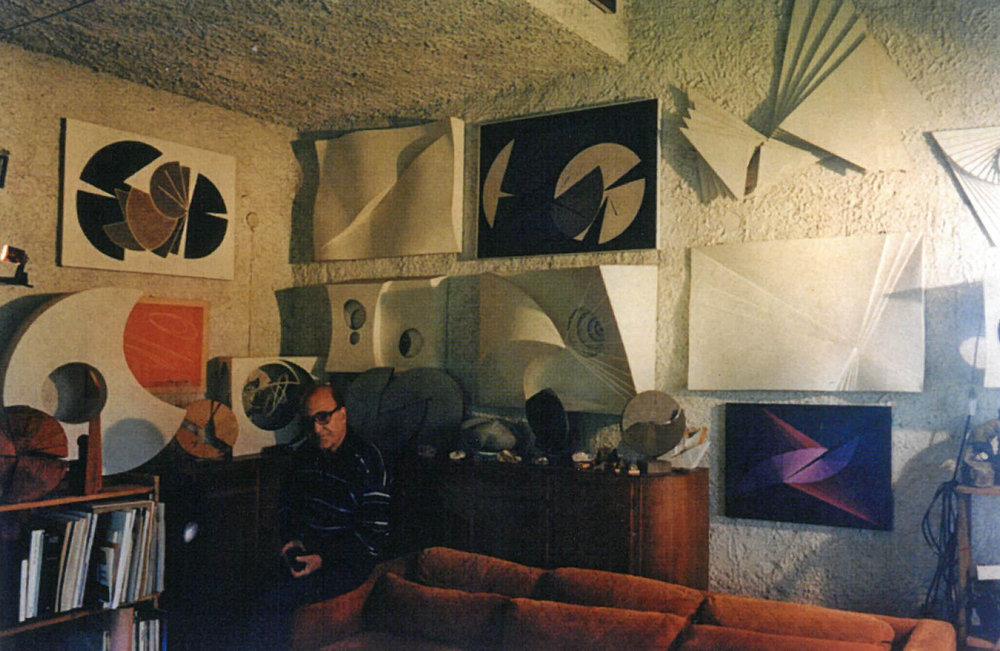 Claudio Del Sole in his studio in Manziana in the 1980's