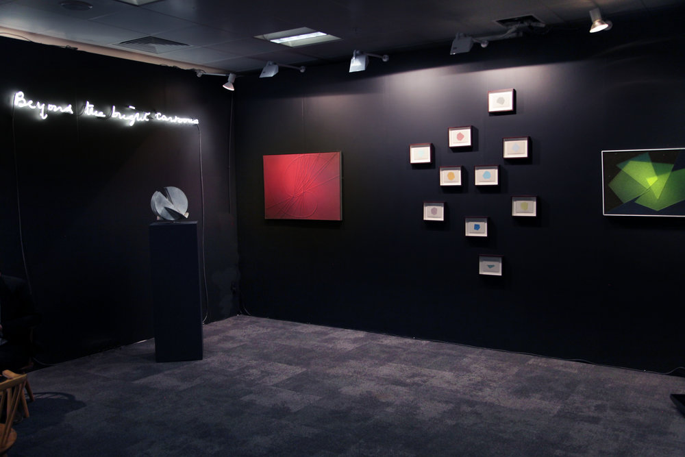 L-R  Beyond the bright cartoons  (D J Roberts),  Untitled sculpture  (Claudio Del Sole),  Irraggiamento  (Claudio Del Sole),  L'Osservatorio  (James Brooks),  Astropittura  (Claudio Del Sole)