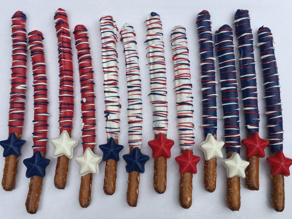 Patriotic Drizzle Star Pretzels