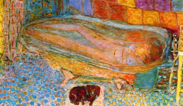 Pierre Bonnard,  Nude in Bath and Small Dog , 1941-6,