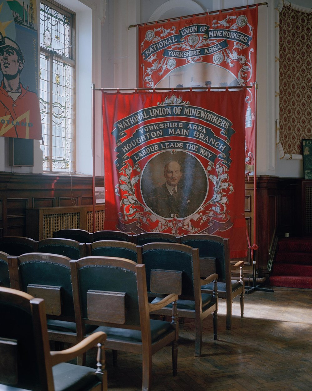 Houghton Main branch banner, National Union of Mineworkers, Barnsley, South Yorkshire.
