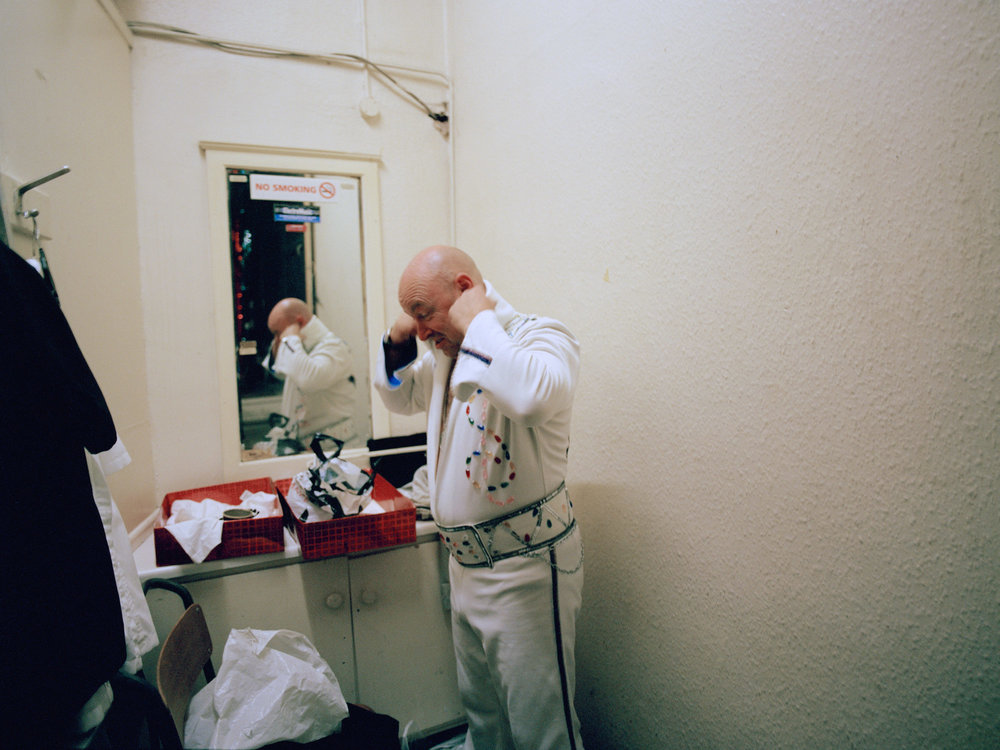 My Father preparing backstage to perform his Elvis tribute act, Boothys Working Men's Club, Mansfield, Nottinghamshire.