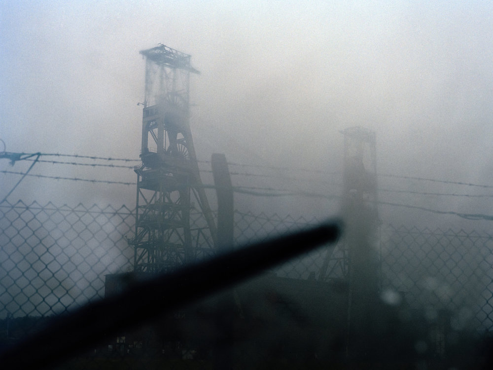 Derelict winding towers of the former Clipstone Colliery, Nottinghamshire.