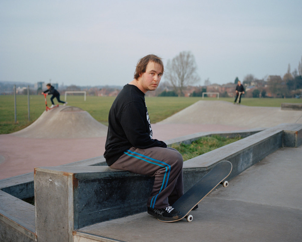 Michael at the skatepark, Mansfield, Nottinghamshire.