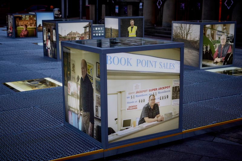 """PORTRAIT"" lightbox exhibition, Mansfield Town market square. Commissioned by First Art and curated by Procu.arte, part of the Flâneur, new urban narratives project."