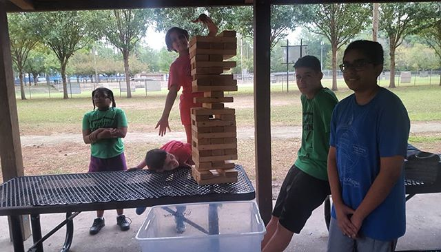 Bad weather can't stop us from getting a great workout! #youth #combine #jenga #giantjenga #workout #westside #exercise #november #fun