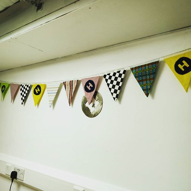 #Hackspace bunting! Made on our #sewing and #textiles night!