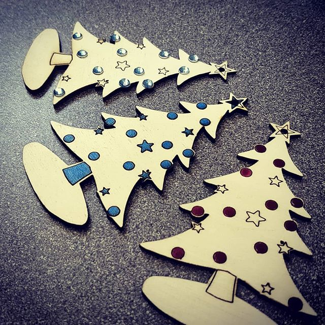 Laser cut Christmas Trees. #makerchristmas #lasercutter #hackspace
