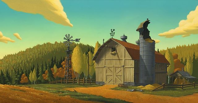 Iron Giant background painted in acrylic. 1998