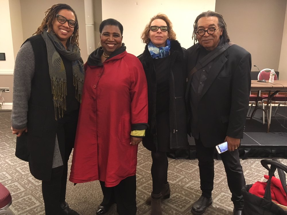 "Participants in our panel ""Race and Representation in the Visual Arts: A Boston Perspective"" from left to right: Alexandria Smith, Callie Crossley, Vera Ingrid Grant, James Montford.  Missing from photo: Camilo Alvarez"