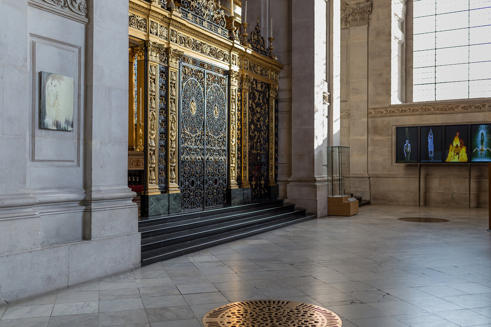 Overlooked, 2017  Triptych: Reflective Hope, Stations of Water, St. Paul's Cathedral, London.  Installation view, image credits: Graham Lacado