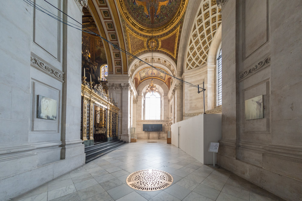 Overlooked, 2017  Triptych is made up of Reflective Hope (left), Wish/Cleanse (right) and Reveal (suspended beneath this roundel), Stations of Water, St. Paul's Cathedral, London.  Installation view (Fisheye perspective), image credits: Graham Lacado