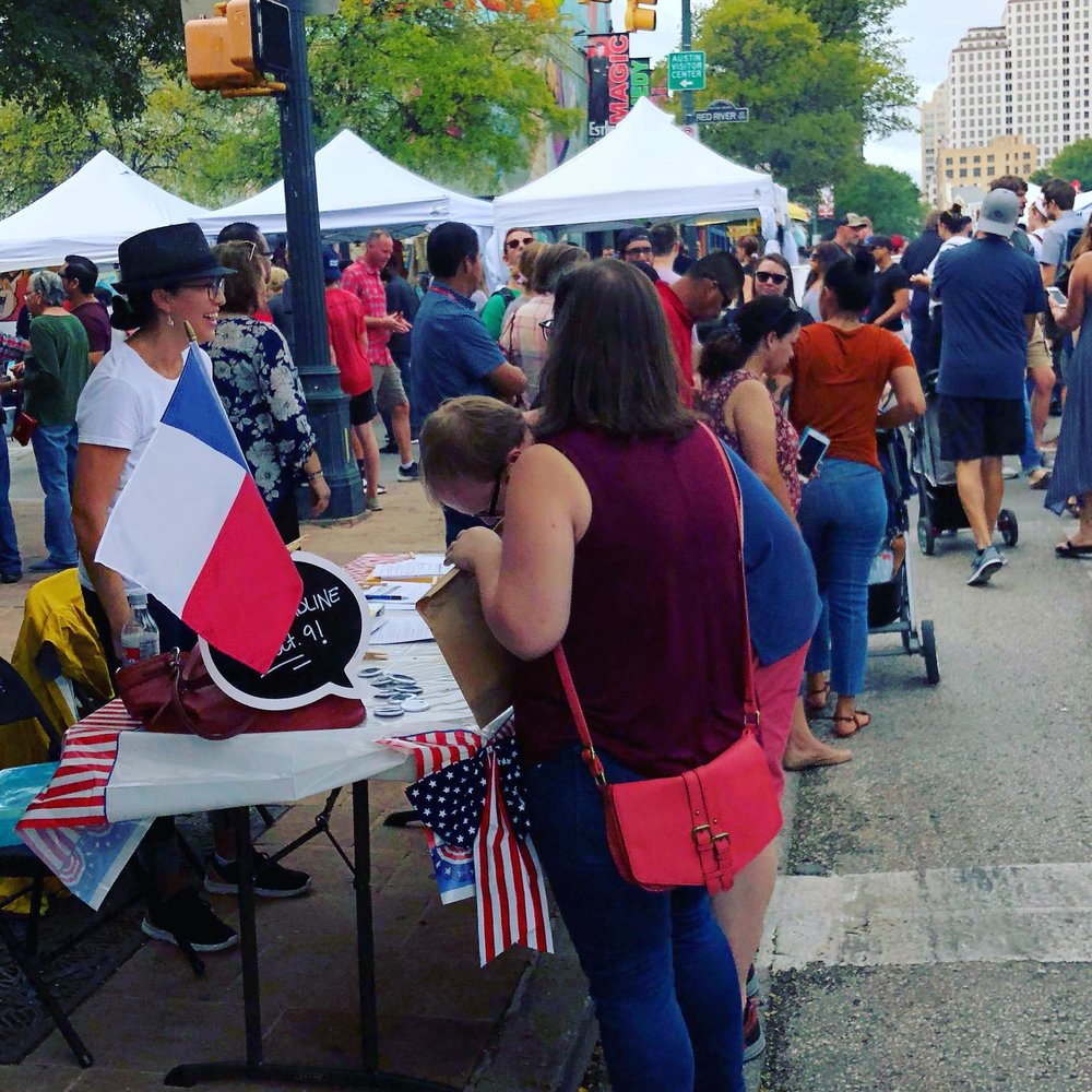 Registering voters out at the Pecan Street Fest in Austin, TX