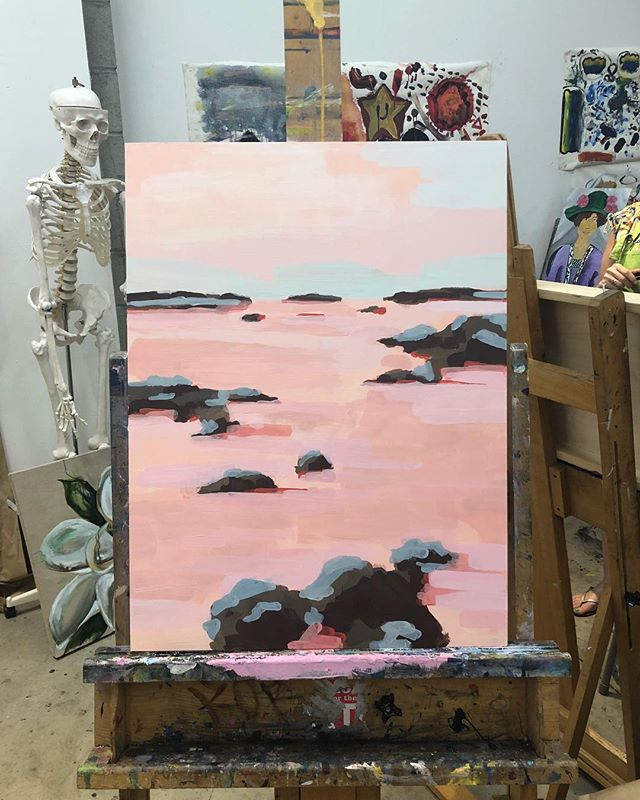 Tide pools in progress. #california #painting #expressionism #westcoast #montanadeoro #tidepools #wip