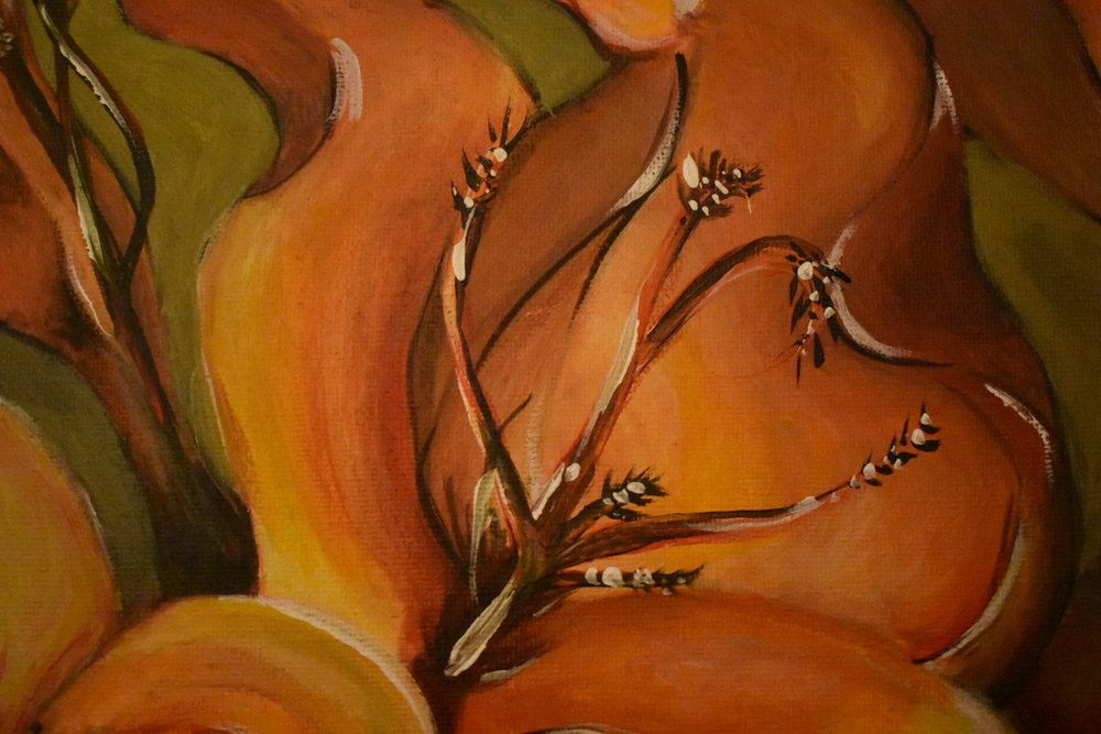 2016 Acrylic on canvas. Commission detail. Client wanted the flowers to be bright and warm.