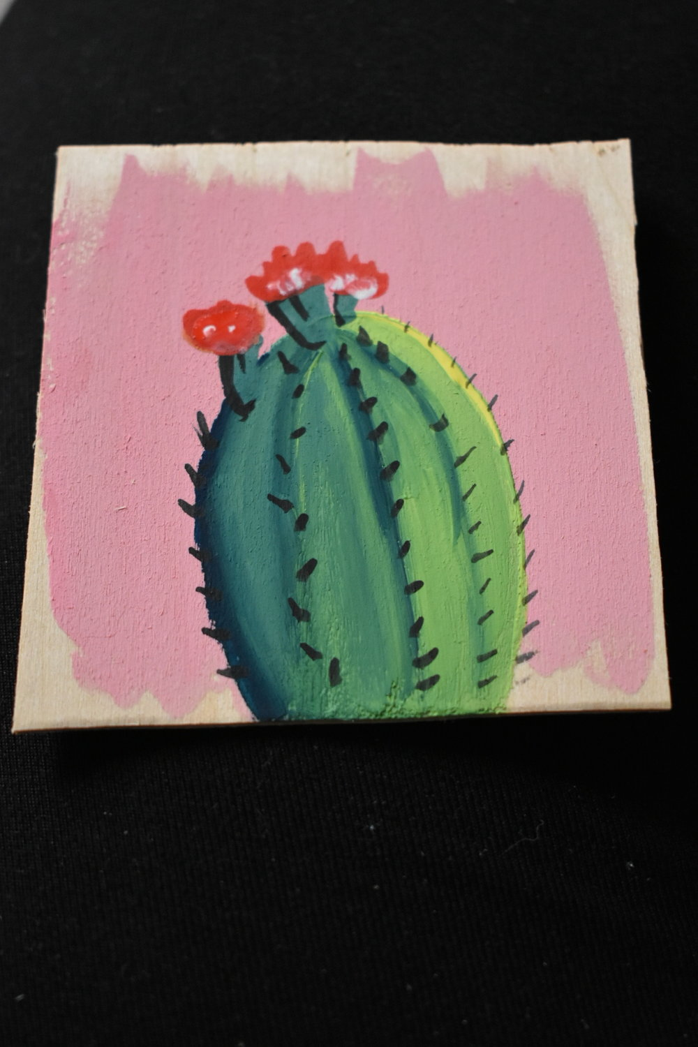 """2016 Goache on wood. Size is about 3""""x3"""". Painted to be sold at an outdoor market."""