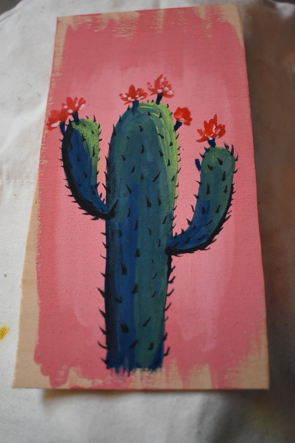 """2016 Goache on wood. Size is about 4""""x3"""". Painted to be sold at an outdoor market."""
