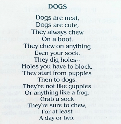 The dog poem, written at age 9—I told you it was embarrassing