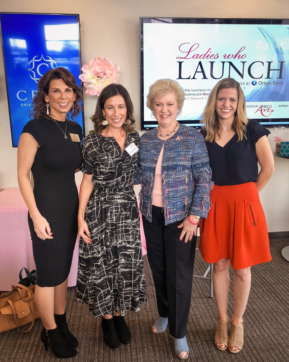 Frisco Arts October Ladies Who Launch luncheon.  Shown left to right: Julie Shipp, Gallery Director at Collin College; Christi LaMarca of Tilly & Fran; Janelle Hail, Founder and CEO of National Breast Cancer Foundation; and me.